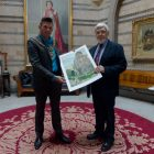 Lord Mayor of Manchester Cllr Carl Austin Behan with Mike Stevenson