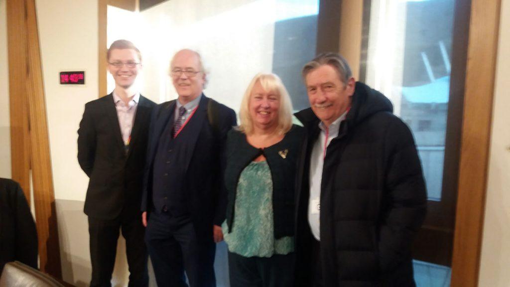 Ross Greer MSP, Pete Roche, Cllr Audrey Doig (NFLA Scotland Vice Convener), Dr Ian Fairlie