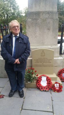 NFLA English Forum Chair Cllr David Blackburn by the Leeds memorial stone
