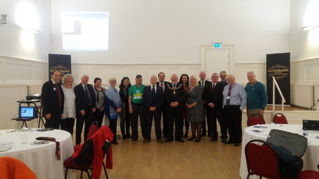 Group photo Clydebank NFLA / Mayors for Peace / ICAN seminar