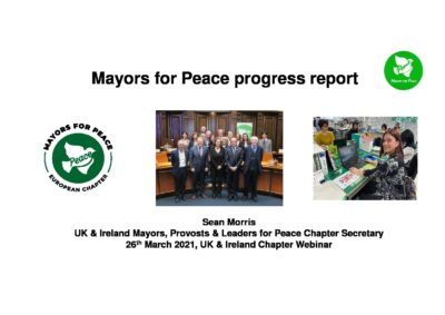 Progress report on Mayors for Peace recent activity