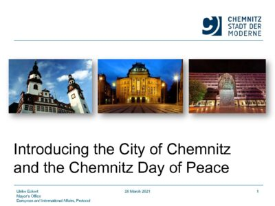 Introducing the City of Chemnitz and the Chemnitz Day of Peace