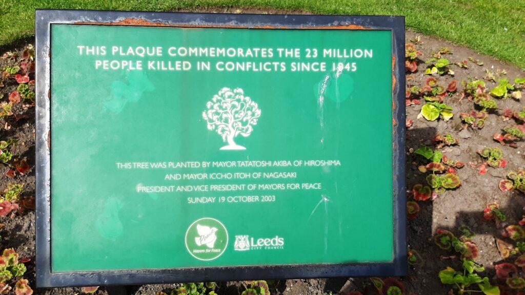 Leeds' Mayors for Peace memorial plaque